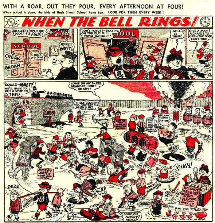 "The first 'proper' episode of ""When The Bell Rings"" from The Beano No. 604. Issues 602 and 603 had teasers in them, sharing the page with ""Minnie the Minx""."