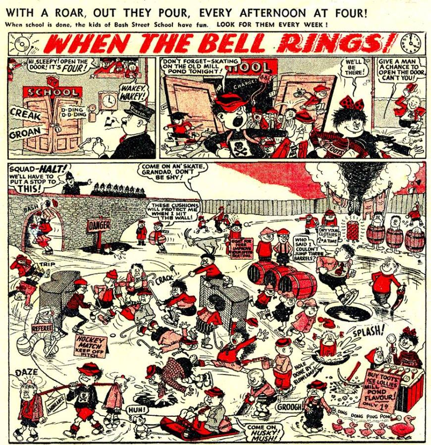 """The first 'proper' episode of """"When The Bell Rings"""" from The Beano No. 604. Issues 602 and 603 had teasers in them, sharing the page with """"Minnie the Minx""""."""