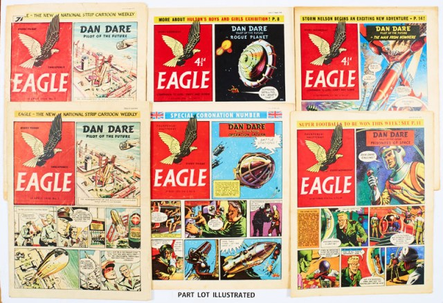 Eagle volumes 1-10 (1950-59). A complete 10 year run comprising 501 consecutive issues including two No 1s. Starring Frank Hampson's iconic space hero , Colonel Dan McGregor Dare, his nemesis The Mekon, The Red Moon Mystery, Prioners of Space, Rogue Planet, L Ashwell Wood's centre page 'cutaway' art, Captain Pugwash by John Ryan, P.C. 49, Harris Tweed, Luck of the Legion, Jeff Arnold, Montgomery of Alamein and the Life of Winston Churchill both by Frank Bellamy and special Coronation Numbers - all here - 501 items in total
