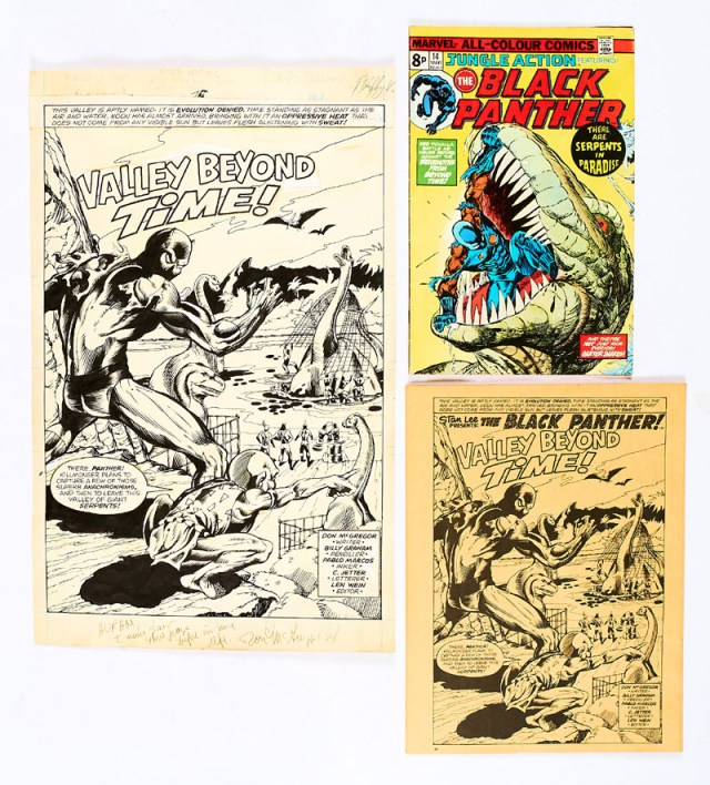 Jungle Action 14 (1975) featuring Black Panther, with Black Panther story additional opening page artwork published in 1976 in Marvel UK's Planet Of The Apes Issue 75. The art has wrongly been credited to Billy Graham in the auction listing. The pencils are actually by David Wenzel, inked by Duffy Vohland. (Indian ink on cartridge paper. 17 x 11 ins)