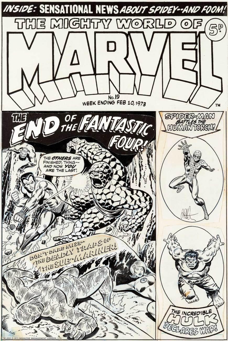 Jim Starlin and Joe Sinnott Mighty World of Marvel #19 Cover Fantastic Four Original Art (Marvel UK, 1973)