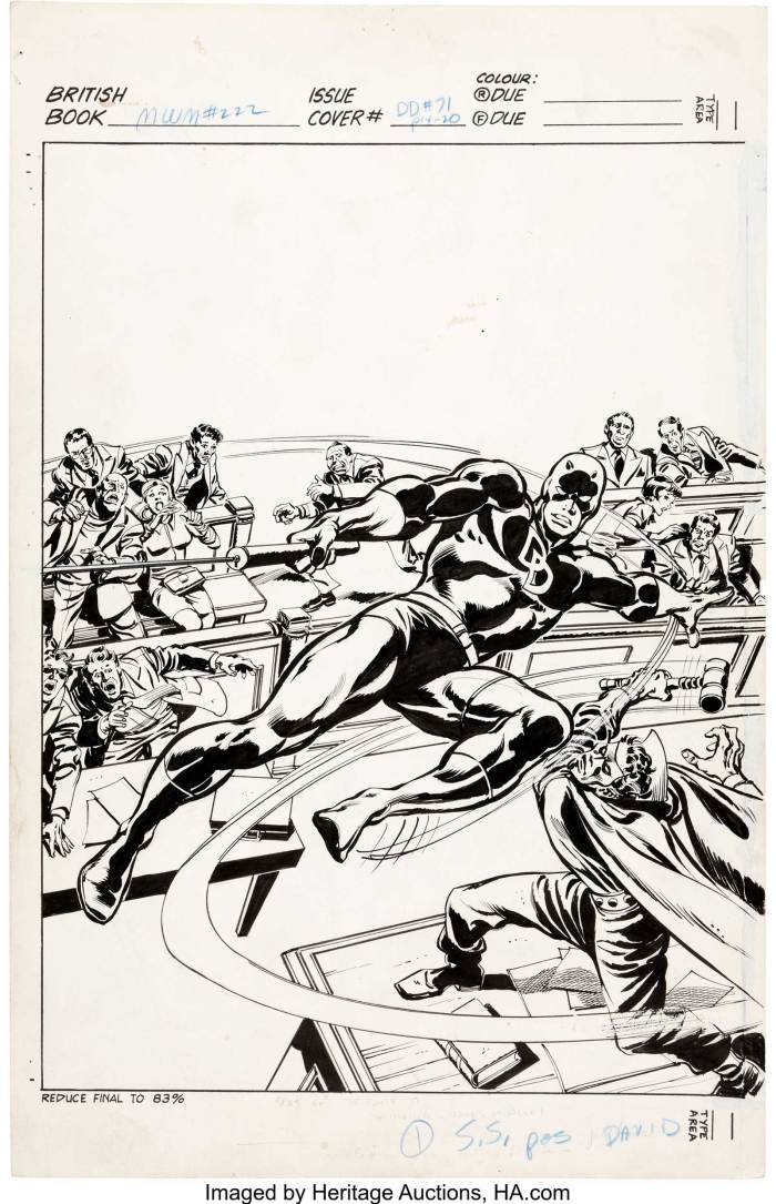 John Buscema and Tom Palmer Mighty World of Marvel #222 Cover Daredevil Original Art