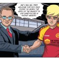 "Gola's Harvey Jacobson with Roy Race in the upcoming graphic novel ""Roy of the Rovers: Foul Play"", on sale next month"