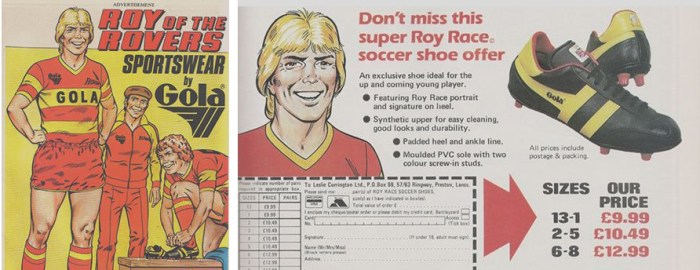 Roy of the Rovers 1980s Gola Advertisements