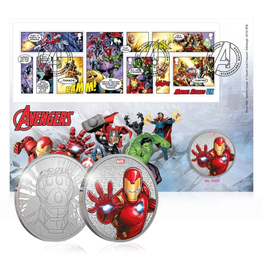 Royal Mail 2019 - Marvel Special Issue Stamps - Avengers Medal Set