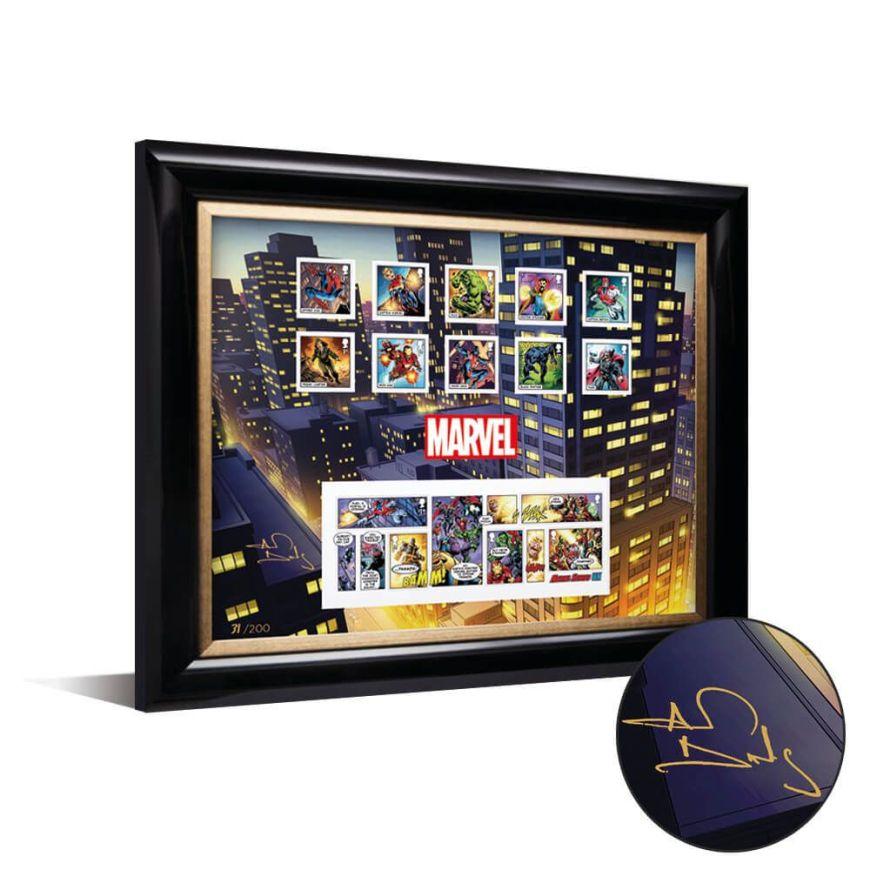 Royal Mail 2019 - Marvel Special Issue Stamps - Framed Set signed by Alan Davis