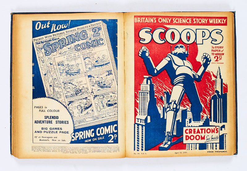 Scoops (1934) 1-20 - Complete series in bound volume. The UK's first science fiction weekly with The Poison Belt by Sir Arthur Conan Doyle in issues 14-18
