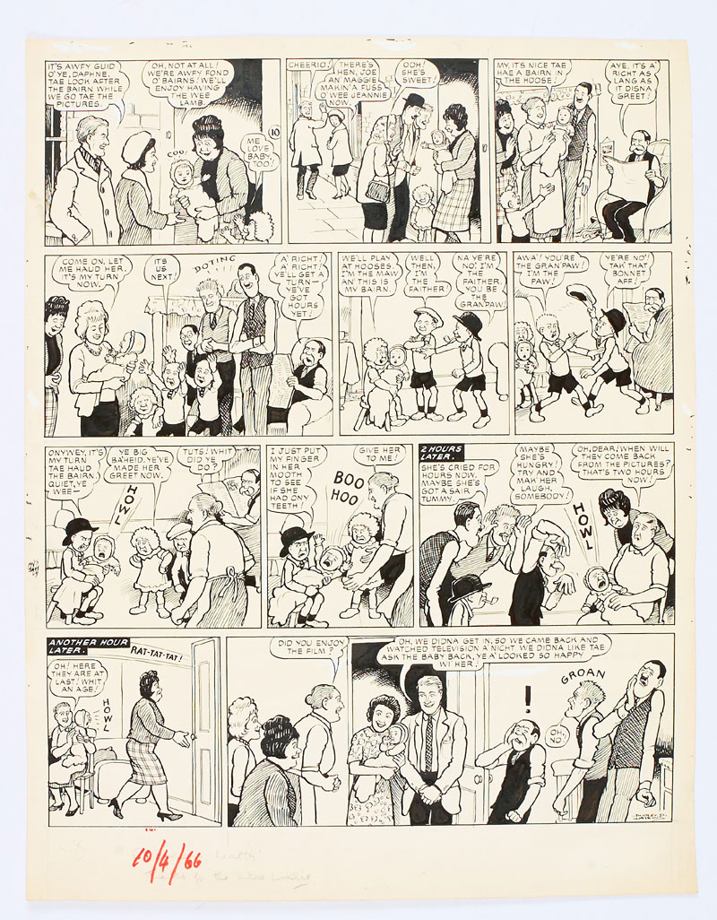 The Broons original artwork (1966) drawn and signed by Dudley Watkins from The Sunday Post 10 April 1966. The Broons look after the next door's neighbour's bairn while they go tae the pictures. She's a wee lamb - for the first five minutes… (Indian ink on cartridge paper. 19 x 15 ins)