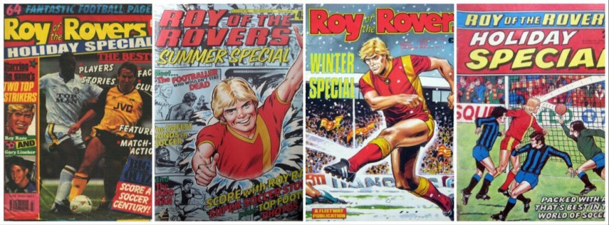 Just some of the many Roy of the Rovers specials released down the years. © Rebellion Publishing Ltd.