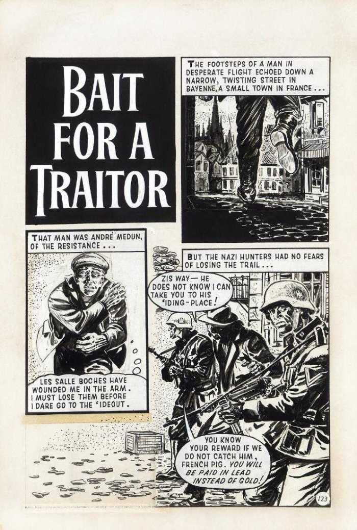 "A page from ""Bait for a Traitor"" drawn by Solano Lopez, an adventure which appeared in a 1967 issue of Fleetway Super Library"
