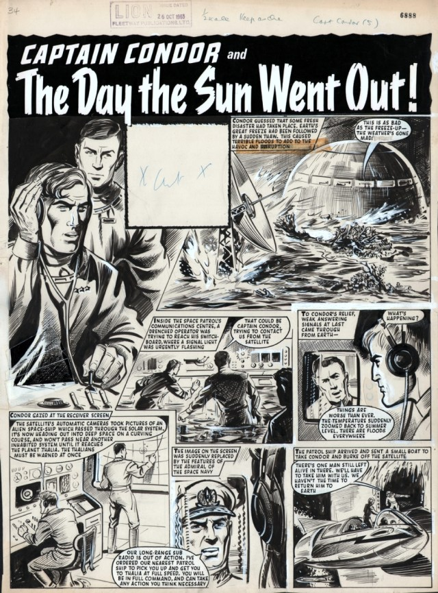 """A page form """"Captain Condor - The Day the Sun Went Out"""" from Lion cover dated 26th October 1963. Via ComicArtFans"""