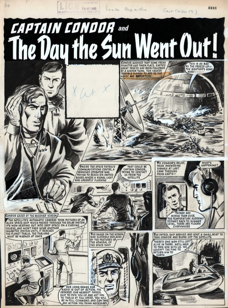 "A page form ""Captain Condor - The Day the Sun Went Out"" from Lion cover dated 26th October 1963. Via ComicArtFans"