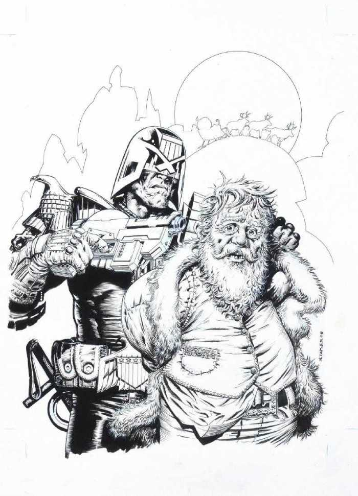 An original cover by Greg Staples for the 2008 Christmas edition of Judge Dredd Magazine (Issue 279), published by Rebellion
