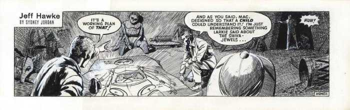 "Daily strip H 2452 for the Jeff Hawke story ""Immortal Toys"", signed at the back by Sydney Jordan"