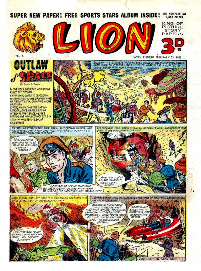 """Captain Condor makes his debut in """"The Outlaw of Space"""" in the first issue of Lion, cover dated 23rd February 1952"""
