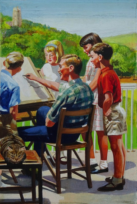 """""""Peter and Jane watch the artist"""" - an illustration by Frank Hampson from the Ladybird Key Words Scheme book 5b, """"Out in the Sun"""". Courtesy Peter Hampson"""