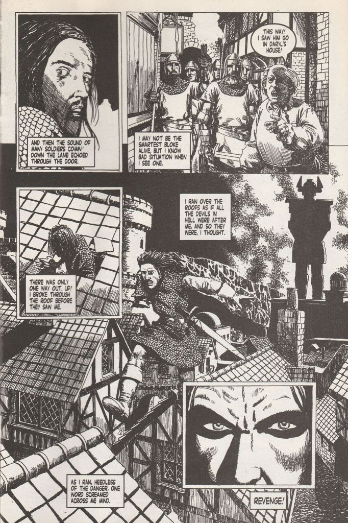 A page from Age of Heroes #5 in its original black and white. Art by John Ridgway