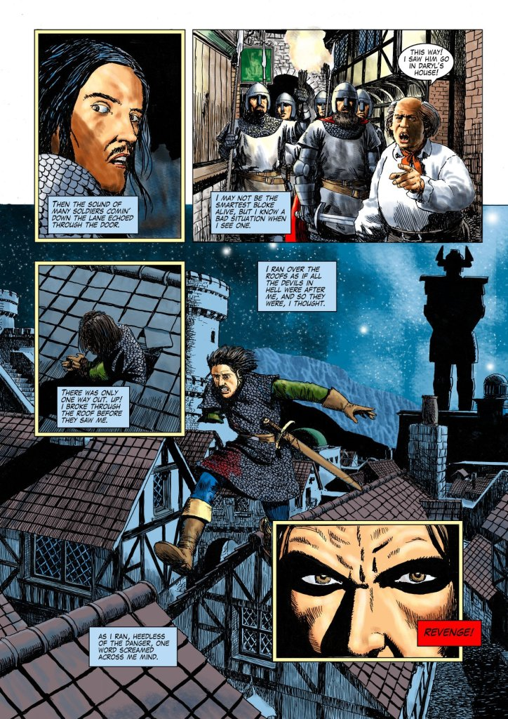 """A page from the colour edition of Age of Heroes #5. """"The pages of Age of Heroes were produced in pen and ink for comics published around 1995,"""" says John. """"I began to colour the pages by scanning the artwork and colouring using Photoshop and Krita so that they may be published in colour. The colouring process calls for some blacks to be removed and replaced with colour. It may be fun to play spot-the-difference. I have replaced all the original lettering."""""""