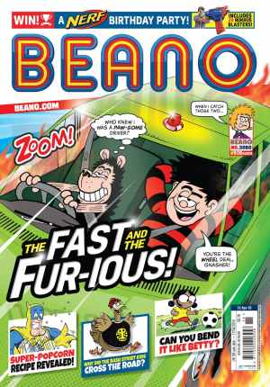 Dennis and Gnasher on the cover of the latest Beano (Issue 3980) on sale now in all good newsagents and supermarkets