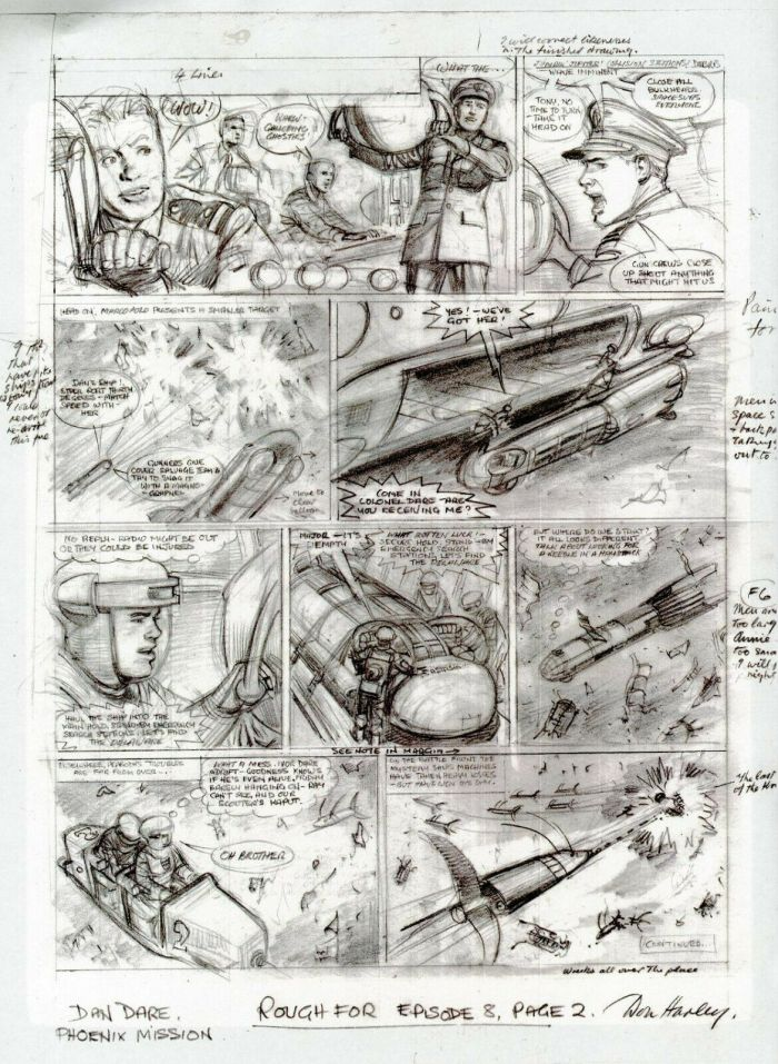 "Don Harley's original pencils of Eagle's Dan Dare, from the Dan Dare story ""The Phoenix Mission"" published in Spaceship Away Issue 3."