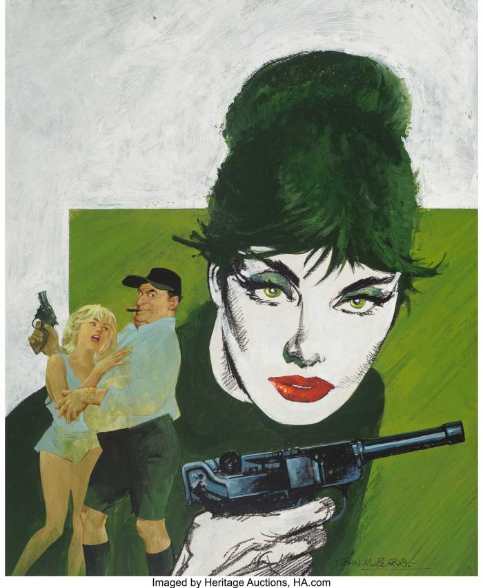 Modesty Blaise: Uncle Happy paperback cover, 1990, by John M. Burns