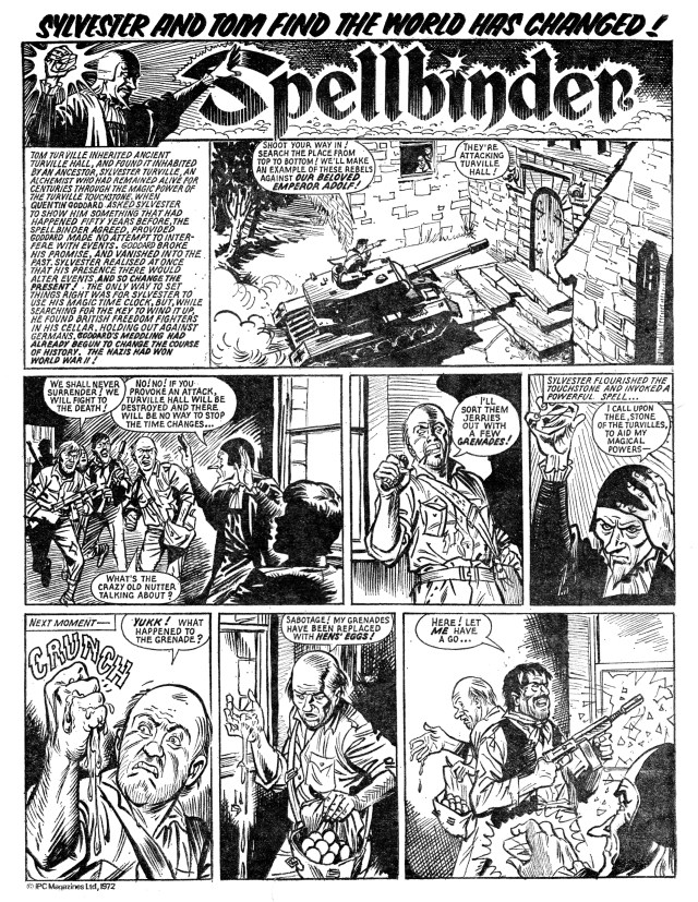 """The opening page of the second episode of a """"Spellbinder"""" story published in Lion and Thunder (issue cover dated 4th November 1972), a long-running story which saw one of Sylvester Turville's clients wreaking havoc across time - initially by enabling the invasion of Britain by the Nazis during World War Two. Art by Geoff Campion, story by Frank S. Pepper.  Sylvester's strip was originally entitled """"Turville's Touchstone"""" but appeared under the title """"The Spellbinder"""" for the vast majority of its run."""