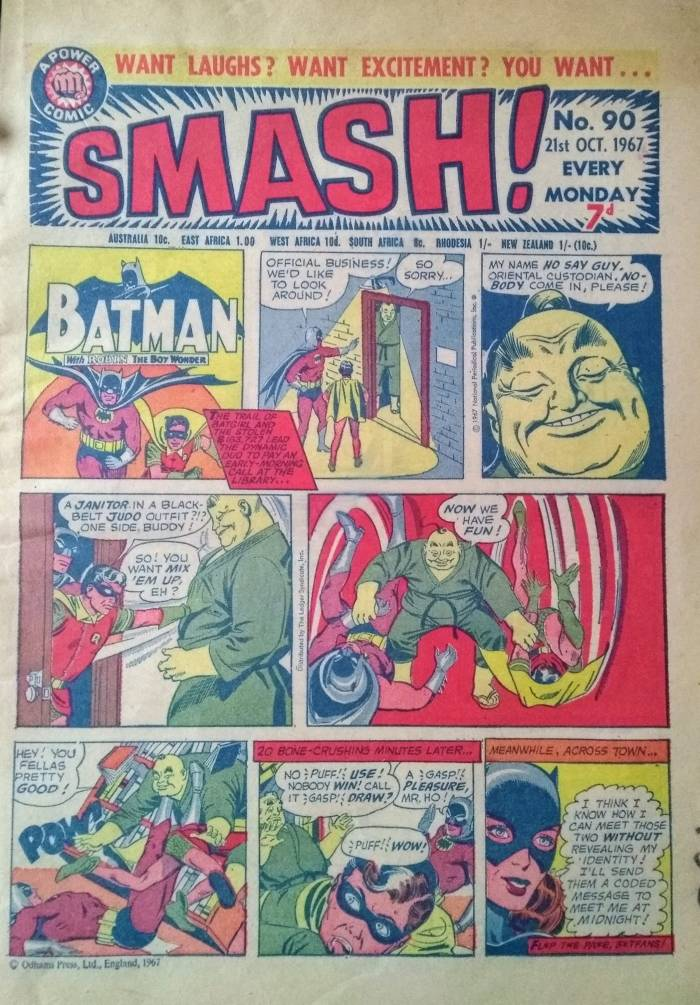 The cover of SMASH issue 90, reprinting the Batman Sunday Comic Strip dated 11th November 1967, in garish colour