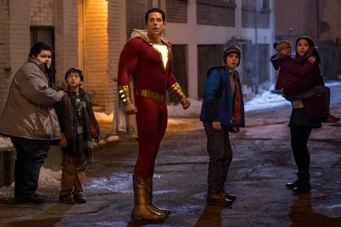 Jovan Armand as Pedro Pena, Ian Chen as Eugene Choi, Zachary Levi as Shazam, Jack Dylan Grazer as Freddy Freeman, Faithe Herman as Darla Dudley and Grace Fulton as Mary Bromfield in Shazam!. Steve Wilkie/Warner Bros Entertainment