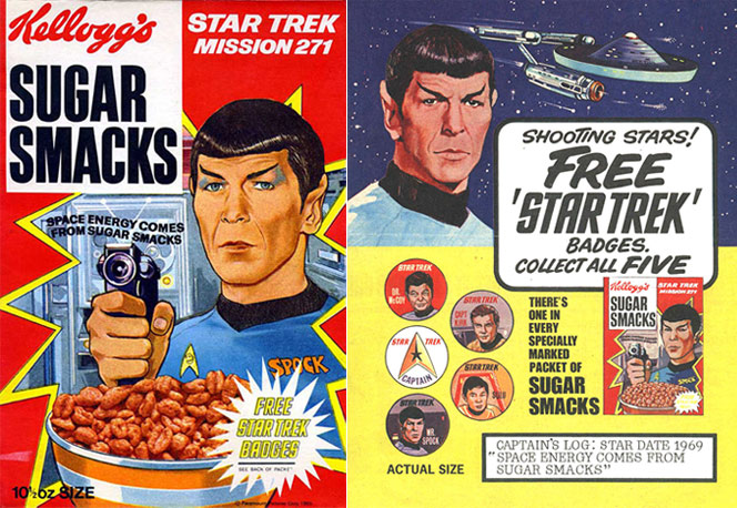 A 1969 Star Trek Sugar Smacks packet, complete with a picture of all the free badges you might find inside