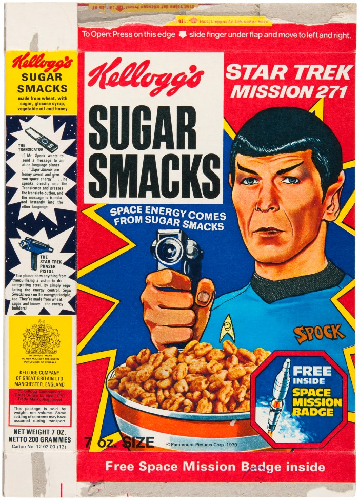 A Star Trek Sugar Smacks cereal packet, beamed all the way from Britain in 1970 via Hakes.com