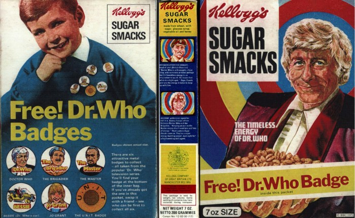 """1971 Sugar Smacks - Doctor Who packet via """"The Confessions of Who"""""""