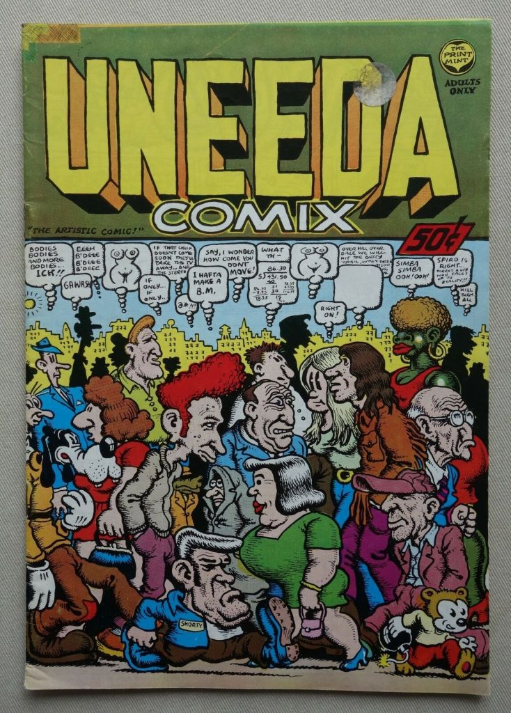 A copy of Uneeda Comix from 1970 - a Robert Crumb production. This copy was previously owned by the late Jim Baikie