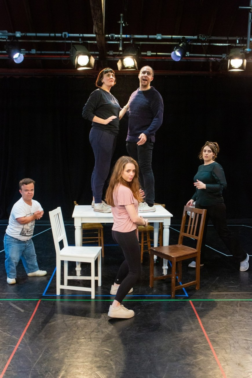 "The cast of ""Grandma Saves the Day! A Musical About the Giles Family"" in rehearsal"