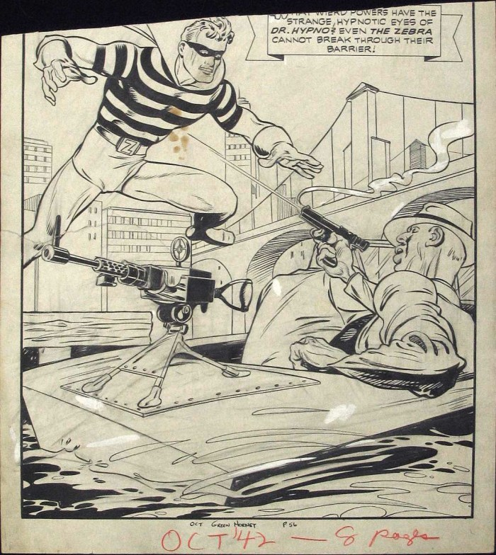 The Zebra in action in a back up strip for Green Hornet #9, art by Pierce Rice
