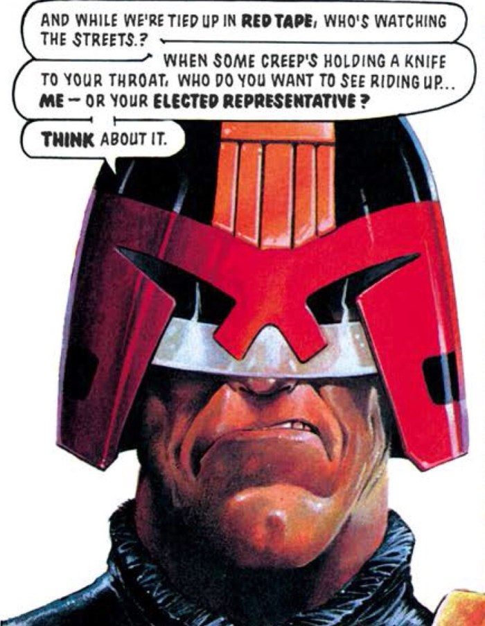 "Judge Dredd in the story ""The Devil You Know"", featured in 2000AD Progs 750 - 753. Script by John Wagner, art by Jeff Anderson. The story is reprinted in Judge Dredd: The Complete Case Files Volume 16"