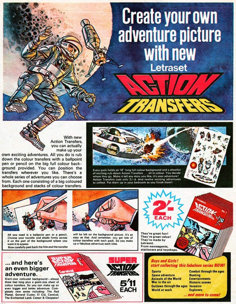 """1960s Letraset Action Transfers advertisement, featuring art by """"Thunderbirds"""" artist Frank Bellamy. (Thanks to Lew Stringer for the attribution)"""
