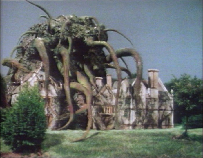 Athelhampton House as visualised in a special effects shot for the concluding scenes of Doctor Who: The Seeds of Doom. Image: BBC