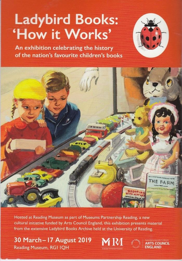 """The Reading Museum poster features art titled """"Outside the Toy Shop"""" illustrated by Harry Wingfield, from Shopping with Mother, Margaret Elise Gagg, 1958© Ladybird Books Ltd, 1958"""