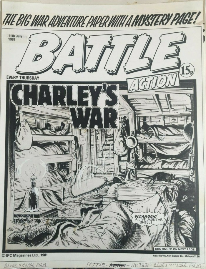 "A ""Charley's War"" Battle cover from 1981, art by Joe Colquhoun, story by Pat Mills"