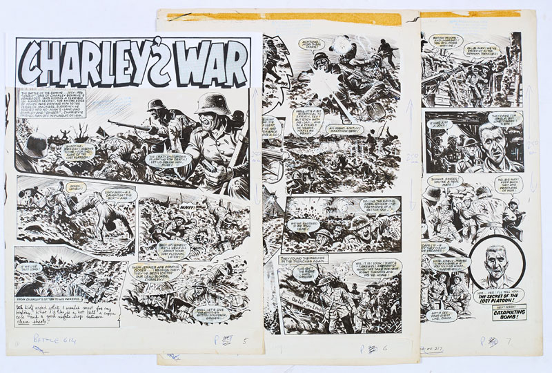 """Three original """"Charley's War"""" artworks by Joe Colquhoun from Battle 614 (1984).  The Battle of the Somme July 1916. One of Charley Bourne's comrades, Lonely, rushes headlong into no-man's land harbouring a terrible secret …"""