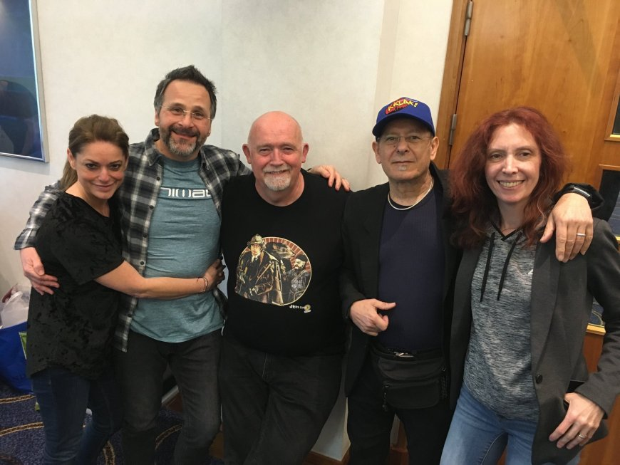 Doctor Who artists and partners at Capitol IV. From left to right, Michelle and Colin Howard, artist Jeff Cummins and Chris  (Christos) Achilleos and Partner Tasha Cornelius. Photo courtesy Colin Howard