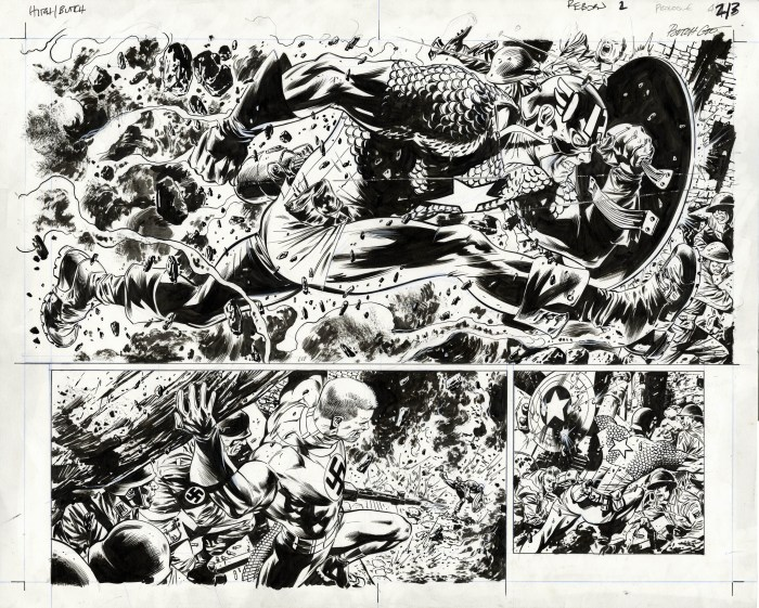 Bryan Hitch drew this epic double page splash for Captain America: Reborn #2 (published in 2009, the first issue of a high profile series that brought Cap back to life after his apparent death in 2007 in the pages of Captain America #25. It features Steve Rogers in battle with the Nazi menace known as Master Man. Inks are by Jackson Guice, the veteran artist who did some of the best work of his career working on Captain America during the era that gave us this page.