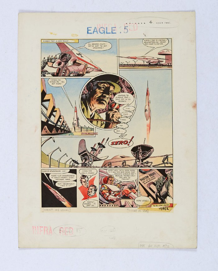 Dan Dare original artwork painted and signed by Frank Bellamy for The Eagle Volume 11, No 15 page 2 (9th April 1960). Dan and Pierre blast off in Nimbus Two in search of the wreck of her sister ship.  From the Bob Monkhouse archive
