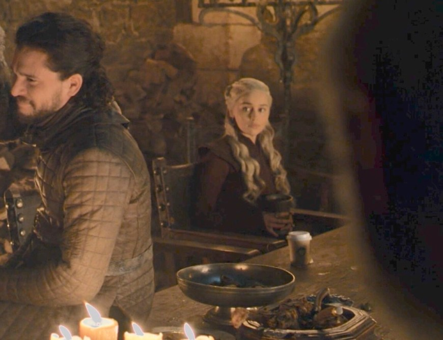 A coffee cup made an incongruous two-second cameo in Game of Thrones - Last of the Starks