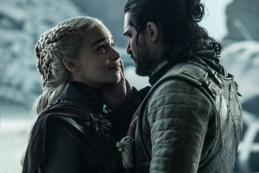 Emilia Clarke and Kit Harington in the finale of Game of Thrones. Image: Helen Sloan/HBO