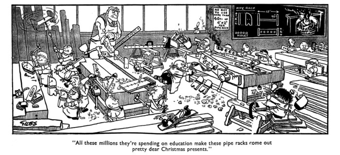 Inspirational: Leo Baxendale acknowledges a debt to the work of Daily Express cartoonist Giles for securing work at The Beano. This cartoon, published 2nd December 1955, is typical of Giles school-inspired cartoons