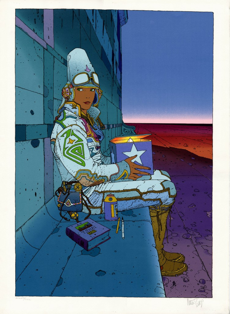 "A beautiful over-sized silk screen features one of artist Moebius' most famous subjects, Starwatcher. The image area of this ""Starwatcher II"" serigraph measures an impressive 19"" x 26.5"" on 22"" x 30"" paper -- this image is huge! It was issued by the French art publisher Aedena circa 1985 in a limited edition of 300 signed and numbered by the artist. Moebius described this serigraph as ""truly a magical drawing""..."