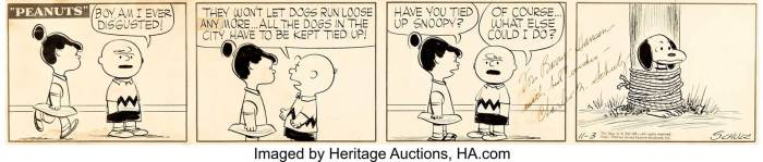 Charles Schulz Peanuts Daily Comic Strip Charlie Brown and Snoopy Original Art dated 3rd November 1955 (United Feature Syndicate, 1955). From early in the strip's 50-year run. This piece was owned by Barry Hansen (aka Doctor Demento, host of the longtime radio show) since his childhood.