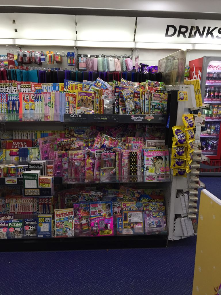 The Children's Magazine section of WHSmith Lancaster in March 2019. Because the store has given over shelf to other products, comics and magazines are tightly packed on the shelf space allocated, making titles hard to find or worse, damaged by handling. The situation is even worse in smaller stores. Some titles don't even make it to the shelves in some stores. Stories abound of DC Thomson title Commando being placed behind counters out of site, stores citing theft as the reason for its lack of display