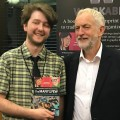 The Many Not the Few co-author Robert Brown with Jeremy Corbyn. Photo courtesy Myriad Editions